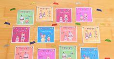 Grußkärtchen für den Geburtstag in der Grundschule