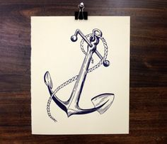 An Anchor For My Soul  Letterpress Linoleum by boundstaffpress