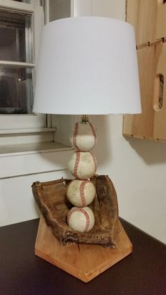 the perfect gift for a baseball fan. This is a great project for a beginner or advance DIY'erDIY baseball lamp.the perfect gift for a baseball fan. This is a great project for a beginner or advance DIY'er Baseball Lamp, Baseball Table, Baseball Crafts, Baseball Tips, Baseball Scores, Baseball Uniforms, Baseball Training, Baseball Field, Diy Projects For Men