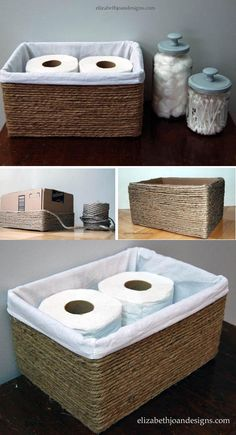 Bathroom Decor themes The most common rope is the frequent choice of many artists and DIY masters. Although seemingly ordinary and ugly, it can be very decorative with a fine detail combined with some other detail. Food Box, Home Decor Furniture, Diy Home Decor, Homemade Storage, Licht Box, Diy Storage Boxes, Man Of The House, Old Boxes, Pencil Boxes