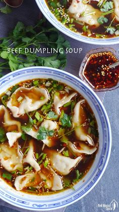 Beef dumplings in hot & sour soup (酸汤水饺) – Red House Spice Make a veggie version? Asian Recipes, Healthy Recipes, Asian Foods, Dumplings For Soup, Chinese Dumpling Soup, Hot And Sour Soup, Hot Soup, Asian Soup, Asian Cooking
