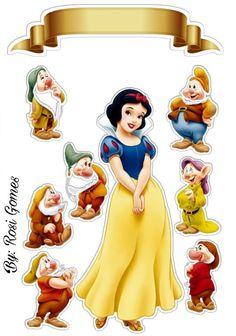 Aniversário Branca de Neve Disney Paper Dolls, Snow White Seven Dwarfs, Snow White Birthday, Snow White Disney, Disney Printables, Disney Princess Party, Paper Cake, Disney Scrapbook, Birthday Cake Toppers