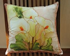 Calla Lily Silk Pillow Handpainted Cushion Cover Greek by CreteArt, €22.00