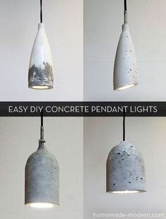 Easy #DIY concrete pendant lights! :: I love all of these! The bottom two remind...
