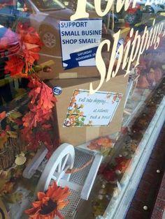Fall into Shipping at Atlantic Pack & Parcel ® (November and Shop Small! Store Windows, November, Packing, Fall, Creative, Shop, Display Cases, November Born, Bag Packaging