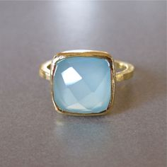 Square Aqua Chalcedony Gold Ring by tangerinejewelryshop on Etsy, $69.00
