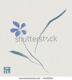 japanese watercolour sumi-e of a blue flower by jekyma, via ShutterStock