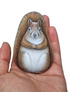 Hand-painted cute squirrel on ideal shape natural stone! Miniature acrylic painting on sea pebble! Stone art, finished with satin varnish You are in the right place about Stone memes Here we offer you Pebble Painting, Stone Painting, Pebble Art, Rock Painting, Painted Rock Animals, Painted Rocks, Hand Painted, Pebble Stone, Stone Art