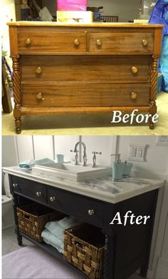 Re-do of an old dresser into a bathroom vanity. Painted with Chalk Paint.