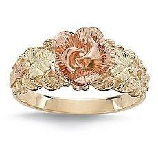black hills gold rose and leaves ring