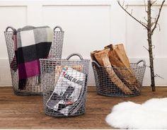 Cestas KORBO, realizadas con un solo hijo tejido a mano. Ideales para almacenar revistas, ropa o para tu jardín!