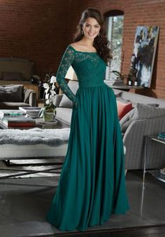Shop Morilee's Long Chiffon with Beading Bridesmaid Dress with V-Neck and V-Back. Long Chiffon with Beading Bridesmaid Dress with V-Neck and V-Back Designed by Madeline Gardner. Available in Beaded Chiffon colors. Mori Lee Bridesmaid Dresses, Emerald Green Bridesmaid Dresses, Winter Bridesmaid Dresses, Designer Bridesmaid Dresses, Beautiful Bridesmaid Dresses, Bridesmaid Dress Colors, Lace Bridesmaids, Long Sleeve Gown, Green Long Sleeve Dress