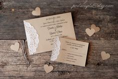 .....love the RSVP from this one...with doily on side Custom Vintage Lace Doily Wedding Invitations - Script Calligraphy Font - Baby & Bridal Shower - Engagement - Rustic Shabby Chic Party via Etsy