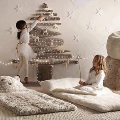 #calmwinter love this idea for homes with no place to put a tree.