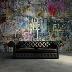 Un papel pintado mural favorito de Rebel Walls, Cartoon City, graffiti! #rebelwalls #papelpintado #murales