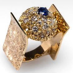 Huge Wide Band Natural Diamond & Sapphire Cocktail Ring Solid 14K Gold Jewelry