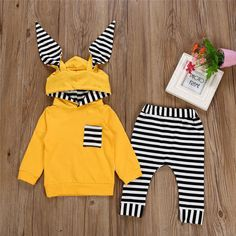 Baby Boys Bunny Ears Stripes Hoodie Long Sleeve Pocket Tops+Striped Pants  Set Wear 27e7e8feda04e