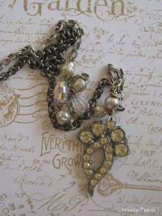 Antique Upcycled Rhinestone Brooch Vintage Pearl by WinterPearls, $42.00