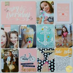Enjoy the Everyday, by Guest Designer Miriam Rodriguez using the Let's Go Collection from www.cocoadaisy.com #cocoadaisy #scrapbooking #kitclub #layout #pocketpage #DITL #projectlife #stitching #stamping #anchor