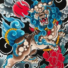 «FU DOG»by Hary #hary #harywildblood #mikaeldepoissy #fudog #foodog #irezumi #tattoo #wabori #horimono #japanesetattoo #japanesesleeve… Japanese Mythical Creatures, Fu Dog, Le Shop, Japan Tattoo, Oriental Tattoo, Irezumi Tattoos, Japanese Sleeve, Kewpie, Craft Gifts