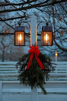 Christmas lanterns and wreath