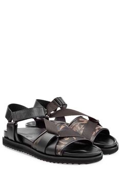LEATHER SANDALS WITH PRINT GR. EU 41 ALEXANDER MCQUEEN Velcro Straps, Stylish Men, Leather Sandals, Fashion Forward, Open Toe, Alexander Mcqueen, Black Leather, Detail, How To Wear