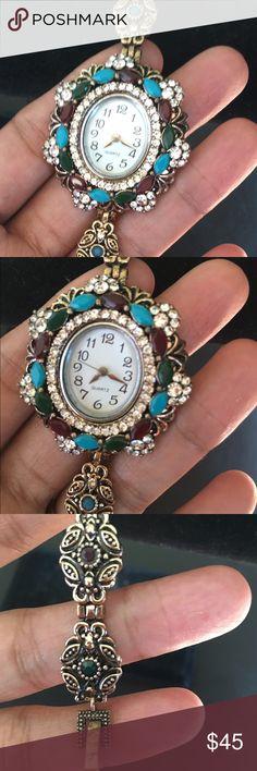 925 Sterling solid brass watch NWOT Turkish Bracelet attached Multi color stones .TURKISH VICTORINE EMERALD STONE 925 STERLING SOLID BRASS BRACELET watch . Jewelry Bracelets