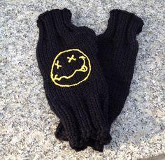 Nirvana inspired hand knitted fingerless gloves on Etsy, $13.00
