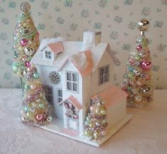 LIGHTED Shabby Chistmas Cottage with Bottle Brush by IllusiveSwan