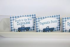 Little Blue Truck Food Tent Labels - Little Blue Truck Birthday Food Tents or Place Cards Birthday Party Themes, Boy Birthday, Truck Toddler Bed, Party Food Signs, Vintage Baby Boys, Little Blue Trucks, Monster Truck Birthday, Food Tent, Baby Boy Shower