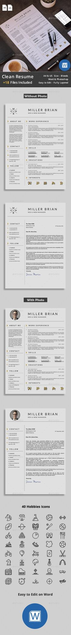 Modern Resume Template \ Cover Letter + Icon Set for Microsoft - clean resume design