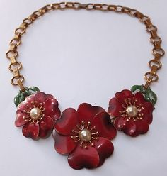 Vintage art dec red green enamel faux pearl flower collar necklace.  Wonderful 1930s piece.