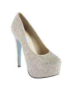 "The Wish by Betsey Johnson Blue is a stunning work of art. The over the top platform pump design is fully encrusted in glittering champagne rhinestones. The 5"" heel is beautifully balanced with a 2"" platform front. Available in Champagne."