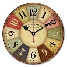Mejor precio nuevo Vintage francia parís francés colorido redondo país toscano estilo Paris reloj de pared de madera 1 unid(China (Mainland))