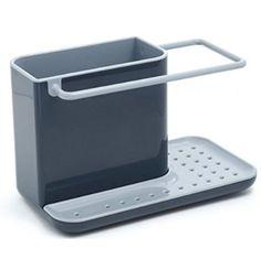 Joseph Joseph 85022 Sink Caddy Kitchen Sink Organizer Holder for Dish Soap Sponge Brush Holder Drains Water Dishwasher-Safe, Gray
