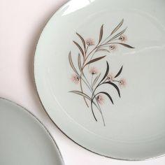 2 Medium Salad Plates Vintage 1950's Universal China Ballerina Mist Mint Green Aqua Pink Strawflower Design by PowersMod on Etsy