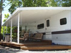 RV / Camper Awnings – Aluminum Awnings & Underdecking of the Carolinas Rv Shelter, Trailer Park, Trailer Diy, Rv Carports, Aluminum Awnings, Camper Awnings, Diy Rv, Camper Renovation, Camper Remodeling
