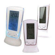 Modern Digital Alarm Clock Unique phone Calendar/ Thermometer Backlight LED Screen