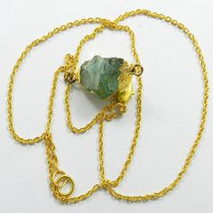Attractive Natural Fluorite gemstone gold plated brass chain handmade necklace #Handmade #Chain #Magicalcollection #Gemstone #Necklace Jewelry #Sterling Silver #Necklace