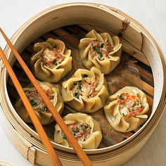 Pork and Shrimp Dumplings (Shu Mai) by Sunset Magazine. Shu mai typically have flattened pleats, but you can also leave them unflattened if you want a star shape. Prep and Cook Time: 45 minutes.