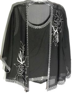 JKARA Black Top -Sheer Chiffon Jacket - Black-White Beads-Sequins-Embroidery -2X #JKARAWOMAN #JacketwithMatchingTop