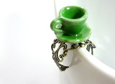 Green Mad Hatter Tea Cup Ring by on Etsy Nail Ring, Perfect Cup, Mad Hatter Tea, Wonderland Party, Beautiful Hands, Cute Gifts, Tea Party, Unique Jewelry, Tea Cups