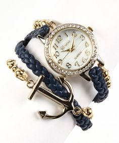 Look at this Navy & Goldtone Anchor Wrap Watch on #zulily today!