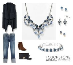 Denim Blue Fall Favorites by touchstonecrystal on Polyvore featuring MANGO, Current/Elliott, Jimmy Choo and Touchstone Crystal
