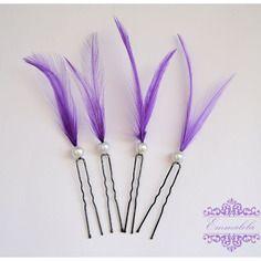 Pics à cheveux avec plume violette,lot de 4,coiffure de mariage