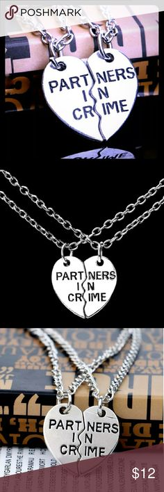 "*Set of 2!* BFF Heart Necklaces Trendy Classic Set of 2 necklaces! Each necklace has half the heart charm to make one full interlocking heart, just like the old school ""best friends"" heart necklaces. As in the pic, the pendant says ""Partners In Crime"" across the pendant.  Great for you and whatever punk you're always getting I'm trouble with ;) Jewelry Necklaces"