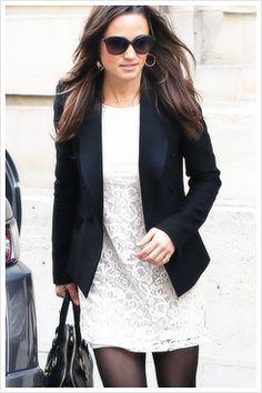 **6/7/14 white eyelet dress, ON black blazer, LP black ballet flats (Pippa Middleton)