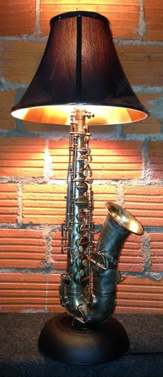 Dan Leap developed saxophone lamp - Home Decor Recycled Lamp, Repurposed, Arte Bar, Lampe Steampunk, Home Music, Lamp Inspiration, Music Decor, Deco Design, Vintage Design