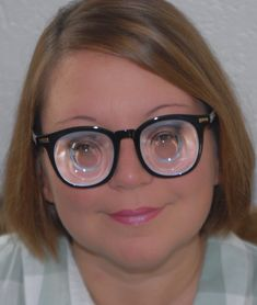 Tiny eyes behind a wall of glass . very very thick and strong myopic glasses for severe myopia dpt . Polished lens carrier with very small bowl . myodisc at it's best ! Tiny Eye, Small Bowl, Girls With Glasses, Eyeglasses, Lens, Strong, Women's Fashion, Ebay, Nice