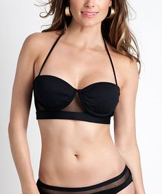 Look at this Blumoss Black Heron Bikini Top on #zulily today!